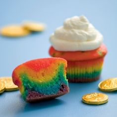 Rainbow Cupcakes    Ingredients  White cake mix (we used an 18-1/4-ounce box)  Food coloring (red, blue, green, and yellow)  Baking cups  Whipped cream (optional)  Instructions  Prepare your favorite white cake mix, then divide the batter evenly among six small bowls. Following the chart below, dye each bowl of batter a rainbow color.    RAINBOW CO