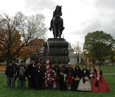 Living historians of the General Meade Society of Philadelphia pose in front of Alexander Calder's statue on October 27, 2012. They had gathered to commemorate the 125th anniversary of the statue's unveiling | Photo: Tom Huntington, Searching4Meade.com