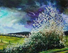 "Saatchi Online Artist Pol Ledent; Painting, ""hawthorn in blossom"" #art"