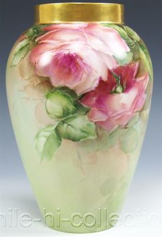 LIMOGES FRANCE HAND PAINTED PEACH ROSES VASE