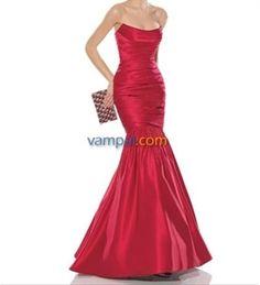 Red mermaid wedding prom dress 2015