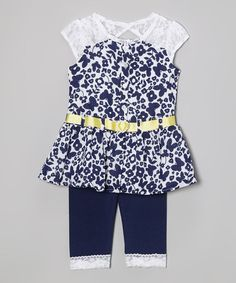 Royal Blue Butterfly Lace Tunic & Leggings - Infant by Little Lass #zulily #zulilyfinds