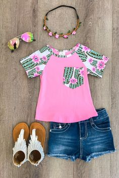 Pink Cactus Flower Pocket T-Shirt Our short sleeve shirts are great quality and stunning!  Perfect for Spring and Summer and even photoprops! Super stylish, yet so comfy!