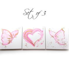Nursery Decor Set of 3 Pink and Gold Paintings Pink by DCinStyle