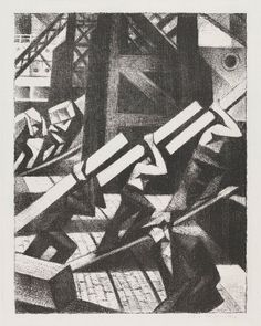 Nevinson wartime works include Loading the Ship, a 1917 lithograph showing soldiers loading cargo Harlem Renaissance, Italian Futurism, Dazzle Camouflage, English Artists, British Artists, Magic Realism, Art Deco, Gcse Art, Prints For Sale