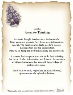 Book of Shadows: #BOS Principles of Success Scroll 10 Accurate Thinking Page.