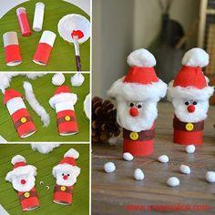 Voilà une chouette idée de recyclage créatif pour réaliser très facilement un joli petit Père Noël version Récup' que les petites mains adoreront!!!