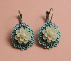 Cabochon utopia filigree flower mint vanilla earrings antique victorian modern shabby chic bohemian romantic bridal  tibet vintage by EtsyNazi on Etsy