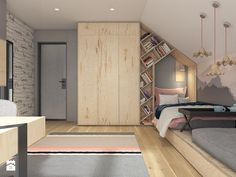 Interesting layout for teen Room Design Bedroom, Girl Bedroom Designs, Kids Room Design, Kids Bedroom, Bedroom Decor, Teenage Room, Attic Rooms, Girl Room, Child's Room