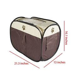 7Life Dog Cat Tent Portable Folding House Cage MultiFunction Puppy Playpen Kennel Easy Operation Fence Outdoor Supplieswithout Hair Dryer Brown -- Details can be found by clicking on the image.