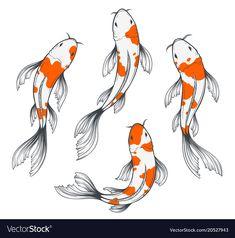 Koi Fish Drawing, Koi Fish Tattoo, Fish Drawings, Art Drawings Sketches, Animal Drawings, Sketch Art, Tattoo Sketches, Tattoo Drawings, Koi Art