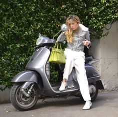 Veryverve. Fendi palazzo pants. Hermes Birkin. Golden Goose Deluxe Brand leather jacket. Chantal Roy outfit.