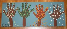 "Four Seasons handprint trees (I made them in a circle to demonstrate the cyclical nature of how the ""Seasons Go Around"") Projects For Kids, Craft Projects, Crafts For Kids, Arts And Crafts, Kindergarten Art, Preschool Crafts, Fall Crafts, Holiday Crafts, Hand Print Tree"