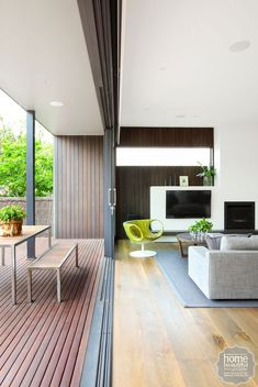 love the TV and gas fire placement - Space Invader: a modern indoor-outdoor renovation