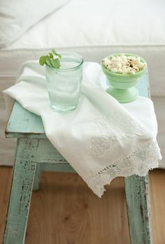 I've recently discovered the Romantic Prairie Style which seems to me to be a combination of shabby and granny chic all wrapped up in a co. Color Menta, Mint Color, Verde Aqua, Sweet Home, Home And Deco, Sea Foam, Cottage Style, Cottage Chic, Cottage Living