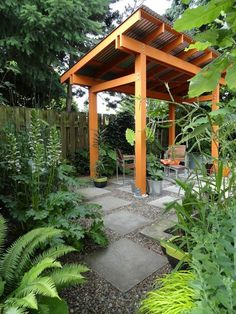 easy lean-to shade structure with concrete pavers asymmetrically spaced over gravel base.