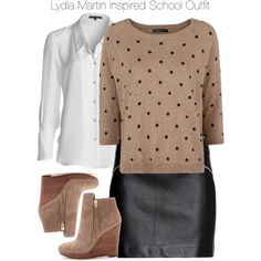 Teen Wolf - Lydia Martin Inspired School Outfit with requested blouse by staystronng on Polyvore featuring polyvore, fashion, style, MANGO, NIC+ZOE, H&M, MICHAEL Michael Kors, school, TeenWolf, LydiaMartin and tw