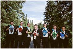 Fun groomsmen photo! These super hero t-shirts were so fun! Canmore wedding photos by Sujata Photography