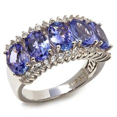 """Colleen Lopez """"Starry Eyed"""" 3.5ctw Tanzanite and White Zircon Sterling Silver Band Ring"""