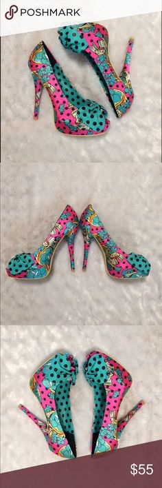 Iron Fist Siesta Skull Peep Toe Platform Heels Gorgeous peep toe heels by Iron Fist. The Siesta Skull style in pink with turquoise bows. Brand new with box. US 8 UK 6. Iron Fist Shoes Platforms
