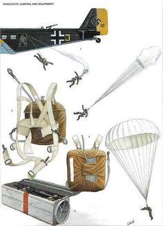 1: Descenso en paracaidas 2: Arnés del paracaidas RZ-1 3: Vista trasera del paracaidas RZ-1 4: Contenedor de armas