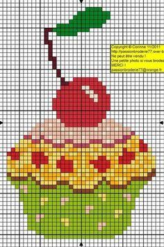 Cupcake with Cherry - free cross stitch or hama bead chart