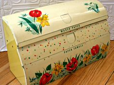 Tin Paper Towel Holder Wax Paper Caddy Vintage by OldVintageShoppe, $29.00