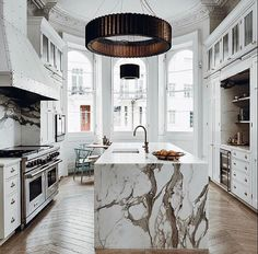 Stunning marble and overhead light fixture