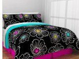 Hot Pink Teal  Black Teen Girls Reversible Twin Comforter Set 6 Piece Bed In A Bag >>> See this great product.