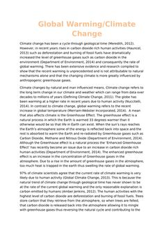 Analytical essay on global warming