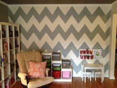DIY Chevron wall...she makes it look so easy!