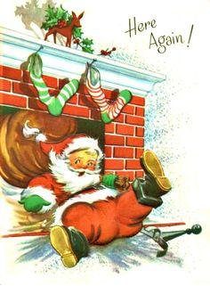 Santa falling through chimney