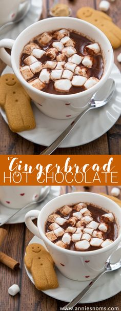 Rich and creamy Gingerbread Hot Chocolate spiked with all the very best gingerbread spices. The perfect festive drink to enjoy on a cold day!