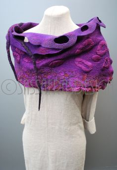 Purple felted scarf hand felted shawl  by sassafrasdesignl on Etsy
