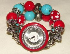 Red and Turquoise Chunky Beaded Watch Band and Face by BeadsnTime, $30.00