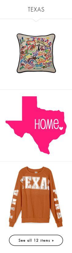 """TEXAS"" by zazaofcanada ❤ liked on Polyvore featuring USA, texas, zazaofcanada, home, home decor, throw pillows, map throw pillow, texas throw pillows, embroidered throw pillows and home & living"