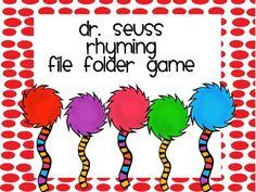 Dr Suess Rhyming File Folder Game - Students will match the pictures that rhyme. 8 pages Rhyming Activities, Preschool Games, Preschool Printables, Preschool Classroom, Kindergarten Kid, Preschool Curriculum, Homeschooling, Dr. Seuss, Dr Seuss Week