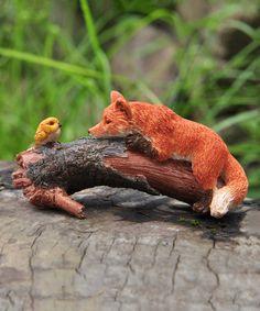 Look at this #zulilyfind! Playful Red Fox with Bird Figurine #zulilyfinds