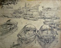 Goh Ee Choo- early Singapore river 1980 pencil on paper