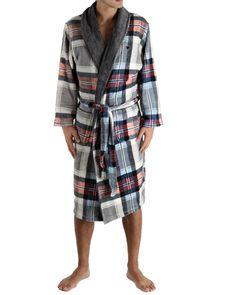 Arthur, Robe de chambre longue Adam  Robe de chambre, fourrure polaire microfibre imprimée, 100% polyester 270 g/m2, ultra-doux et chaud, broderie poitrine, 2 poches plaquées, ceinture assortie. Longueur environ 125 cm.