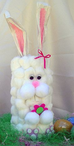 How to make Cotton Ball Container Bunny - DIY Craft Project with instructions from Craftbits.com