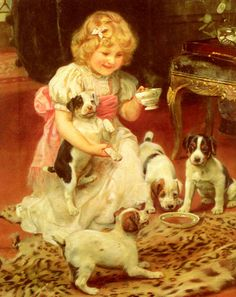 So I just glanced over this... but on closer inspection... chubby faced girl feeding puppies from nice china on a leopard skin rug. OMG that's me!!!!