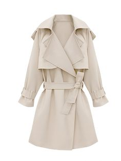 Stylish Solid Color Midi Length Long Sleeve Trench Coat