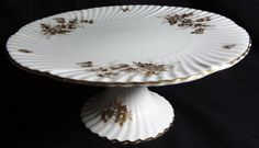 Vtg Hammersley & Co Bone China Pedestal Cake Plate GOLDEN THISTLE #5905 | eBay