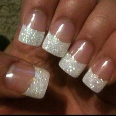 Wedding Manicure Ideas Wedding nails with ring finger all sparkles?Wedding nails with ring finger all sparkles? Glitter French Nails, Fancy Nails, Love Nails, How To Do Nails, Pretty Nails, My Nails, French Manicures, Prom Nails, Silver French Manicure