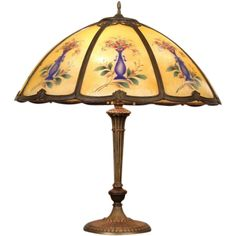 Lamp 1915 Antique, Reverse Painted Glass Shade from harpgallery on Ruby Lane