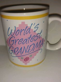 Vintage Hallmark Collectible Smiley Face Coffee Mug Cup World's Greatest Grandma