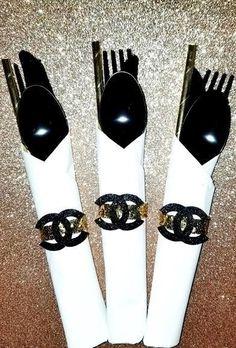 Chanel theme cutlery bundles/ 12 sets #chanel #decorations