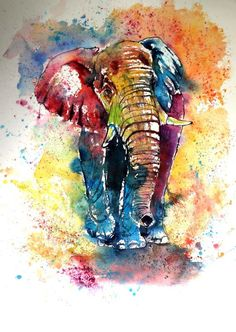 Buy Funny elephant (76 x 56 cm), Watercolour by Kovács Anna Brigitta on Artfinder. Discover thousands of other original paintings, prints, sculptures and photography from independent artists.