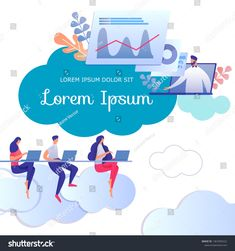 Educating Lesson or Seminar. Webinar and On-line Teaching, Students Group Learning Distance. E-Knowledge Social Media Template Cartoon Flat Vector Illustration. Social Media Template, Lorem Ipsum, Distance, Royalty Free Stock Photos, Character Design, Students, Banner, Knowledge, Ads